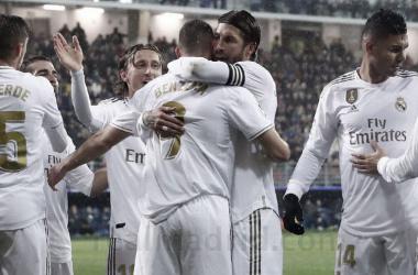 El Real Madrid celebra el primer gol de la tarde. Fuente: Real Madrid