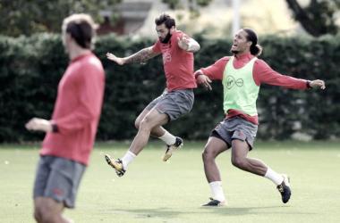 Virgil van Dijk en el último entrenamiento con el Southampton. Foto: Web oficial del Southampton.