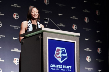 Imani Dorsey gives her speech after being drafted//Source:NWSLSoccer.com