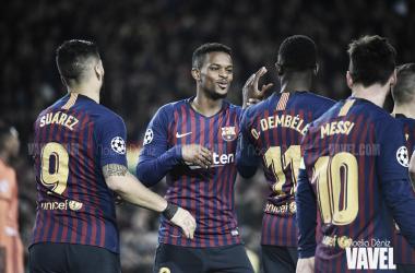 Suárez, Semedo, Dembele y Messi ante el Lyon | Foto: Noelia Déniz (VAVEL)