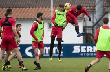 Un momento del entrenamiento de hoy. Fuente: Osasuna.es