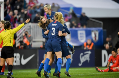 USWNT celebrating against England l source: ussoccer.com