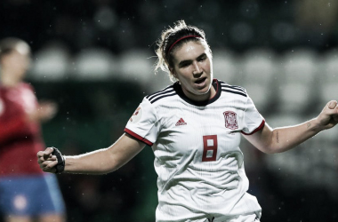 Mariona celebra su gol en la victoria de España contra República Checa (1-5). Foto: EFE