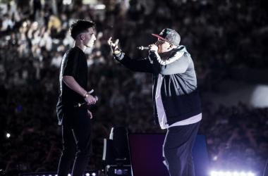 Wos y Aczino en la Final Internacional de Buenos Aires en 2018. (Foto (Sin efecto): Red Bull Batalla De Los Gallos).