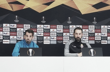Víctor Sánchez junto a Pablo Machín. FOTO: José Manuel Mármol