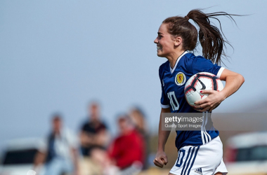 Jamie-Lee Napier of Hibs celebrates a goal for Scotland WU19s (Getty Images)