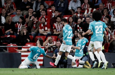 Oier celebra su gol en San Mamés. Fuente: navarra.elespanol.com