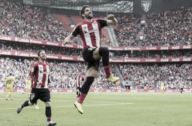 Raúl García celebra el gol anotado frente al Villarreal la temporada pasada