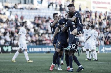 Celebración de un gol del primer equipo | Foto: UCAM Murcia CF