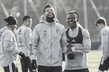 Araujo y Aidoo en un entrenamiento. | Foto: RC Celta.
