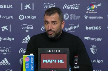 Diego Martínez en la rueda de prensa tras el partido