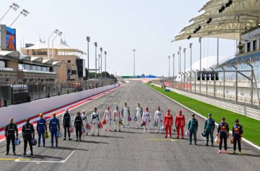The complete 2021 grid lines up in Bahrain prior to testing. (Photo by Clive Mason - Formula 1/Formula 1 via Getty Images)
