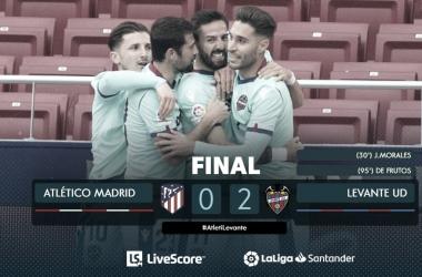El Levante consiguió derrotar al líder del campeonato en el Wanda Metropolitano. /Twitter: LaLiga oficial