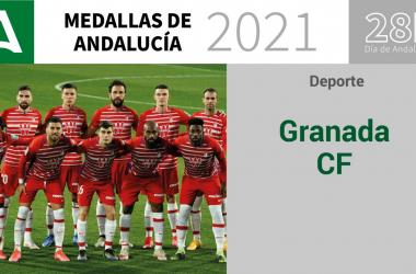 Imagen de la Junta para anunciar la Medalla de Andalucía del Deporte al Granada CF
