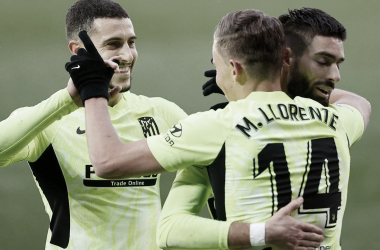 Marcos Llorente, Mario Hermoso y Yannick Ferreira Carrasco celebrando un gol en la presente temporada | Foto del Club Atlético de Madrid
