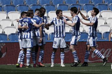 Los jugadores de la Real festejan el tanto logrado ante el Sevilla / Foto: Real Sociedad.