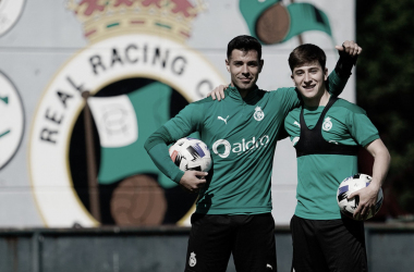 Álvaro Bustos y Pablo Torre sonríen en el entrenamiento. Imagen: RRC
