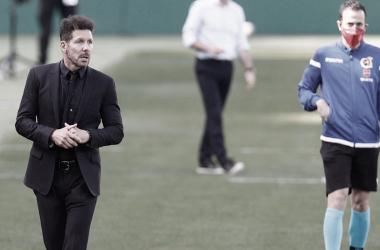 Diego Pablo Simeone durante el gran duelo. /Twitter: Atlético de Madrid oficial