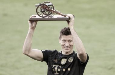 Robert Lewandowski se convirtió en el máximo goleador de la temporada./Twitter: Bayern Múnich oficial
