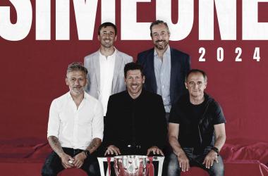 Simeone y su cuerpo técnico han firmado su renovación hasta 2024. / Twitter: Atlético de Madrid oficial