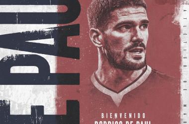 Rodrigo De Paul militará en el club rojiblanco por cinco temporadas. / Twitter: Atlético de Madrid oficial