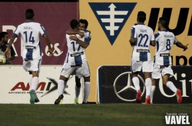 El Leganés celebra un gol frente al Córdoba. Foto: Beatriz Cobos, VAVEL.