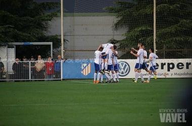 Los jugadores del Majadahonda celebran un gol esta temporada. (Foto: Imanol Ibeas).