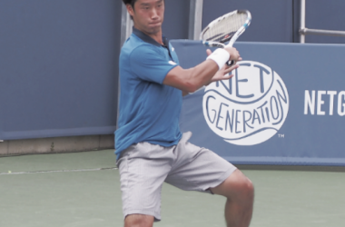 Sugita lines up a forehand (Photo: Noel Alberto/VAVEL USA)