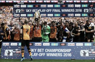 Los futbolistas del Hull celebran el ascenso el año pasado. Foto: Hull City
