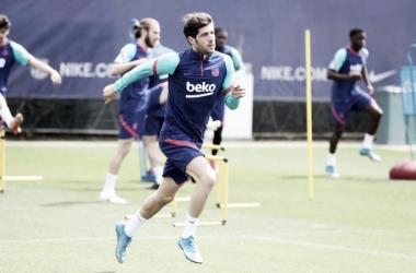 Sergi Roberto en la sesión de este lunes | Foto del Fútbol Club Barcelona