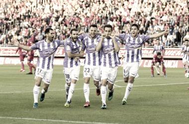 Kiko Olivas celebra su gol ante el Numancia en la final del playoff | Foto: Real Valladolid