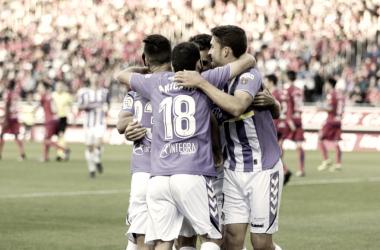 Los jugadores del Real Valladolid celebrando uno de los tres goles anotados frente al C.D Numancia|Foto: Real Valladolid