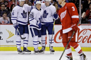 Toronto Maple Leafs forward Nikita Soshnikov (26) celebrates with teammates after a goal in the third period oat Joe Louis Arena in Detroit. Photo: Mike Mulholland   MLive.com