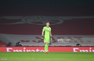 LONDON, ENGLAND - JANUARY 09: Bernd Leno of Arsenal during the FA Cup Third Round match between Arsenal and Newcastle United at Emirates Stadium on January 09, 2021 in London, England. The match will be played without fans, behind closed doors as a Covid-19 precaution. (Photo by Stuart MacFarlane/Arsenal FC via Getty Images