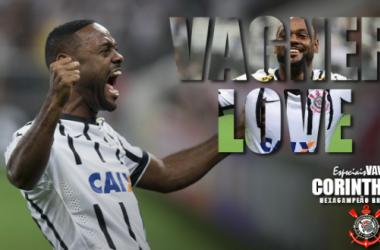 Dispensado do Vasco por ser baixo, Vagner Love anota de cabeça gol do título corintiano (Foto: Editoria de Arte VAVEL)