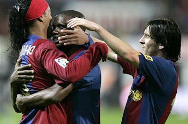 Ronaldinho, Leo Messi y Samuel Eto'o, tridente azulgrana en la 2006/07