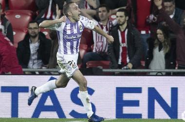 Nacho celebrando el gol en el descuento de Óscar Plano en el partido del año pasado / REAL VALLADOLID