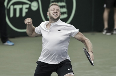Jack Sock celebrates after giving the USA the lead with a comeback from two sets to none down/Photo: Susan Mullane/Davis Cup