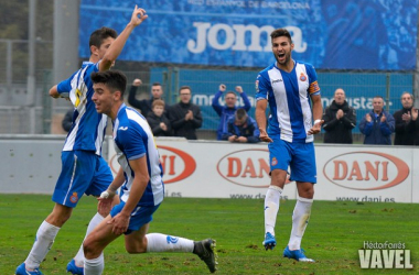 Marc Navarro celebra su cuarto gol de la temporada