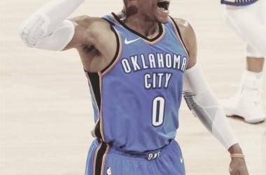 La figura del partido, Russell Westbrook de Oklahoma City Thunder.