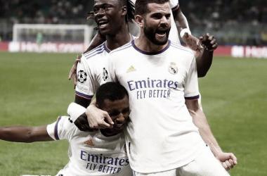 Los jugadores del Real Madrid celebran el tanto de Rodrygo. Foto: @realmadrid