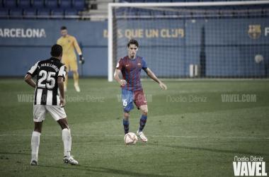 Jandro Orellana en el encuentro disputado en el Johan Cruyff. | Foto: Noelia Déniz