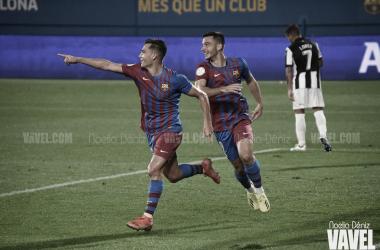 Jutglà y Rodado celebrando el 2-1 que les daba la victoria. | Foto: Noelia Déniz (VAVEL)