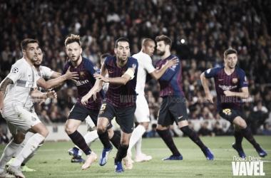 Clément Lenglet, Gerard Piqué, Ivan Rakitić y Sergio Busquets ante el Inter de Milán en el Camp Nou | Foto de Noelia Déniz, VAVEL