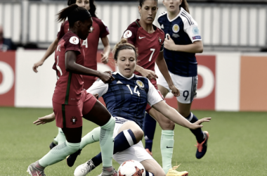 Rachel Corsie puts in a tackle for Scotland. Source | UEFA