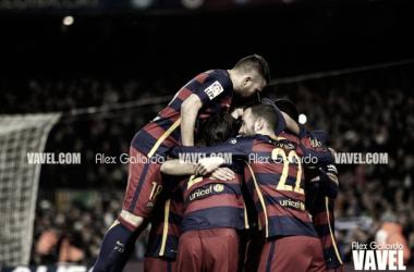 El equipo celebrando un gol en la temporada 2015/16. Foto: Alex Gallardo, VAVEL.com