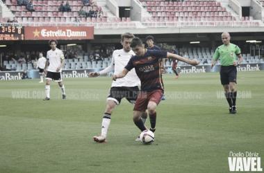 Barcelona B- Valencia Mestalla en la primera vuelta (fuente VAVEL)