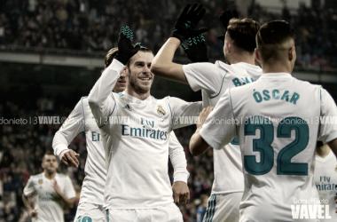 Bale celebrando un gol con sus compañeros. Fuente. Real Madrid VAVEL