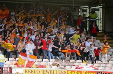 Well fans celebrate a winning goal v Inverness.