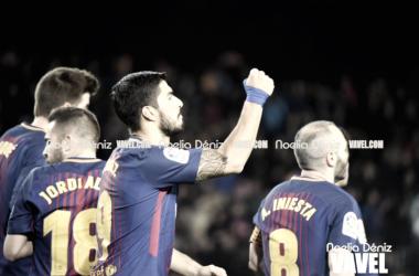 Luis Suárez celebrando el gol de la noche. Foto: Noelia Déniz, VAVEL.com